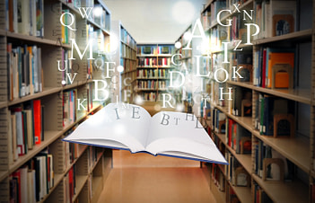 Education Library Book Floating with Letters