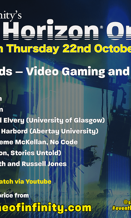 Music: Theremin Hero Poetry: Stephen Sexton Prose: Corey Brotherson Academic chat: Gabriel Elvery (University of Glasgow) and Charly Harbord(Abertay University) Games design talk:Graeme McKellan, No Code (Observation, Stories Untold) Hosted by Ruth EJ Booth and Russell Jones
