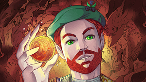 Scotsman with deep, green eyes and rich red beard holding a golden glowing orb in his hand with a Science fictional background