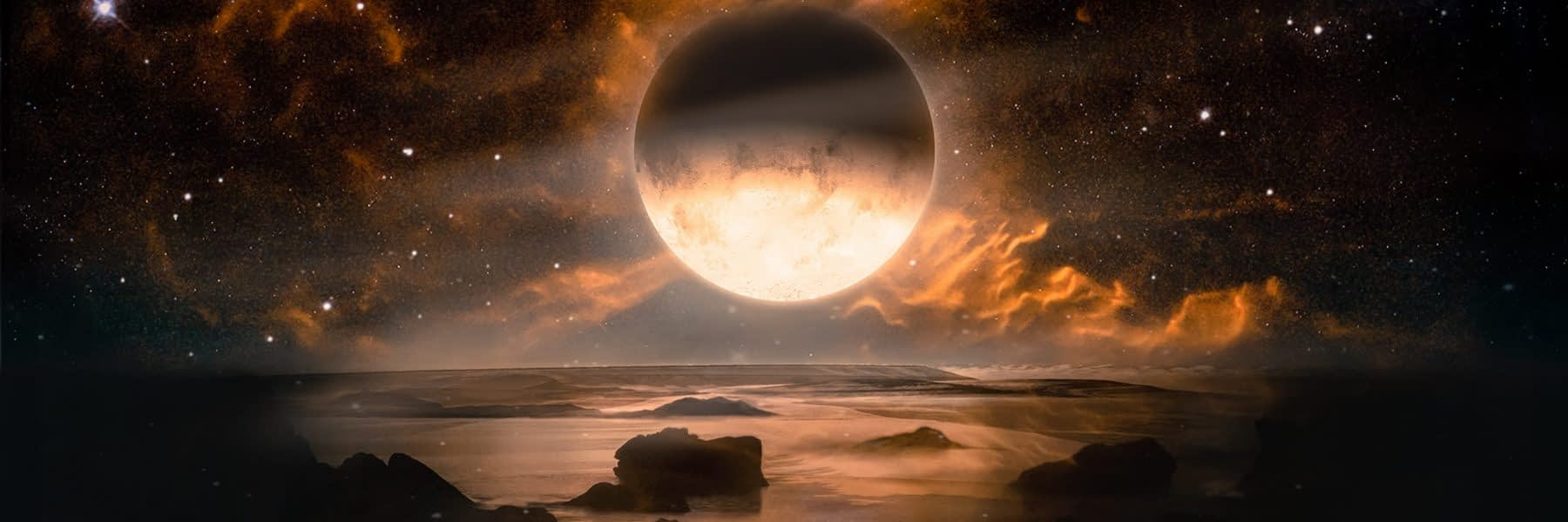 Landscape in fantasy alien planet with flaming moon and galaxy background. Elements of this image furnished by NASA
